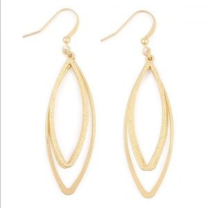 Gold petal cutout hoop earrings NWT